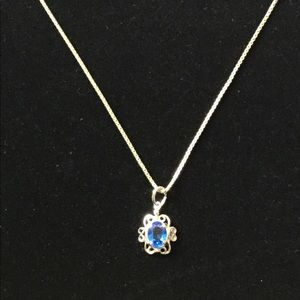 Jewelry - Blue Topaz Silver Pendant and Necklace